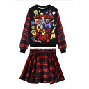 Long Sleeve Cartoon Print Top with Plaid Mini Skirt