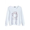 Cartoon Print Long Sleeve Plain Sweatshirt