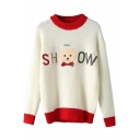 Color Block Long Sleeve Embroidery Sweater