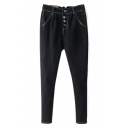 Button Fly Cigarette Black Plain Jeans