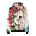 Rose Skull Print Long Sleeve Hooded Sweatshirt