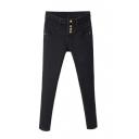 Button Fly Skinny High Waist Velvet Plus Jeans