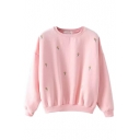 Little Flower Embroidery Long Sleeve Sweatshirt