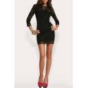 Round Neck Half Sleeve Lace Bodycon Mini Two-Piece Dress