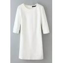 Half Sleeve Zip Back White Shift Midi Plain Dress