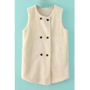 Double Breasted Lamb Wool Sleeveless Plain Vest