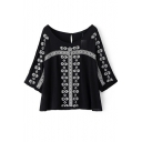 Scoop Neck Geometric Embroidery 3/4 Length Sleeve Blouse