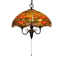 With Pull Chain Country Style 15.7 Inch Wide Tiffany Pendant Light with Dragonfly Pattern