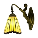 Single Light Mermaid Mini Bathroom Tiffany Style Wall Lamp