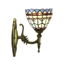 Single Light Bronze Finish Mini Wall Lamp in Tiffany Mediterranean Style