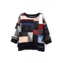 Round Neck 3/4 Length Sleeve Patchwork Sweater