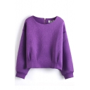 Round Neck Long Sleeve Floral Plain Zipper Back Sweatshirt