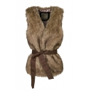 Open Front Faux Fur Sleeve Tie Waist Vest