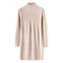 High Neck Long Sleeve Plain Midi Knit Dress