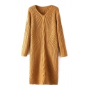 V-Neck Long Sleeve Plain Maxi Knit Dress