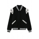 Stand Up Neck Long Sleeve Stripe Trims Jacket