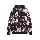Black Floral Print Long Sleeve Hooded Sweatshirt