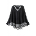 V-Neck Tassel Hem Tribal Print Long Sleeve Cape