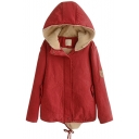 Zipper Hooded Long Sleeve Plain Padded Coat