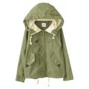 Hooded Zipper Long Sleeve Plain Cotton Coat