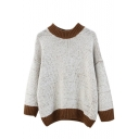 Batwing Long Sleeve Color Block Round Neck Sweater