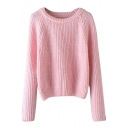 Plain Raglan Long Sleeve Beading Round Neck Sweater