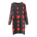 Star Print Round Neck Long Sleeve Long Sweater