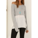 One Shoulder Long Sleeve Color Block Dip Hem Tee