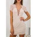 Crisscross Front Lace Patchwork Bodycon Mini Dress
