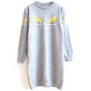 Round Neck Eyes Print Long Sleeve Long Line Sweater