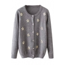 Beading Long Sleeve Button Down Round Neck Cardigan
