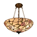 Medium Size Lovely Pink Rose Motif Upward Tiffany Pendant Lighting