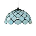 Downward Dome Shade 12 Inch Hanging Pendant Lighting in Tiffany Blue Stained Glass Style