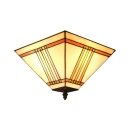 Concise Euro Style Pattern 11 Inch Flush Munt Ceiling Light in Tiffany Stained Glass Style