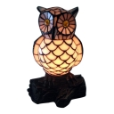 Owl Shade 8 Inch Mini Night Light in Tiffany Stained Glass Style