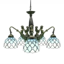 Mermaid Supported 24 Inch Five-light Chandelier in Tiffany Stained Glass Style