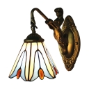 Single Light Flower Pattern Mini Hanging Wall Sconce in Tiffany Stained Glass Style