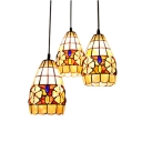 Round Shade Base Tiffany Three-light Dining Room Pendant Lighting