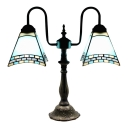 Mission Style Blue/White Stained Glass Tiffany Two-light Buffet Table Lamp