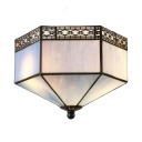 Mission Tiffany Style Flush Mount Ceiling Light with Lattice Trim