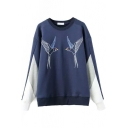 Round Neck Long Sleeve Patchwork Bird Print Sweatshirt