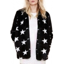 Star Print Long Sleeve Open Front Faux Fur Coat