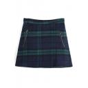 Zip Back Zipper Detail Plain Mini Skirt