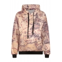 Map Print Hooded Long Sleeve Khaki Sweatshirt