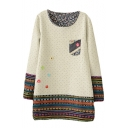 Tribal Print Polka Dot Long Sleeve Scoop Neck Sweatshirt