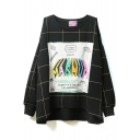 Round Neck Long Sleeve Patchwork Plaid Sweatshirt
