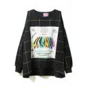 Round Neck Long Sleeve Patchwork Plaid Sweatshirt
