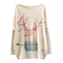Christmas Deer Print Long Sleeve Scoop Neck Sweater