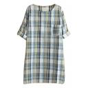 Long Sleeve Plaid Pocket Round Neck Shirt Dress