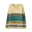 Round Neck Long Sleeve Tribal Print Sweater